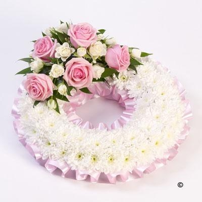 Traditional Wreath   White and Pink