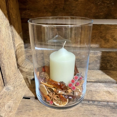 Festive Glass Candle Display