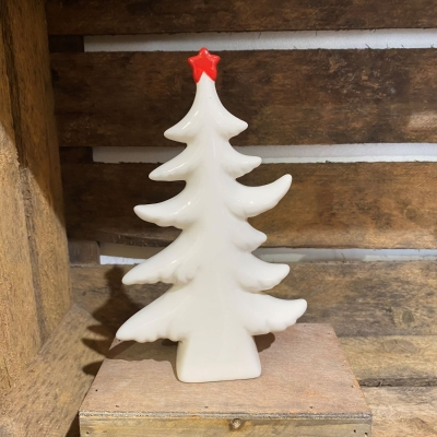 White Ceramic Christmas Tree with Red Star