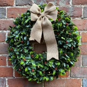 Artificial Holly Wreath with Lights
