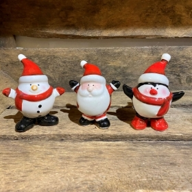 Ceramic Jolly Snowman, Santa, Penguin